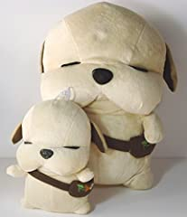 ほっこり 癒しの脱力犬 かわいい 犬 の ぬいぐるみ 大 小 プレゼント に最適不織布バッグ付き (ライトブラウン大小)