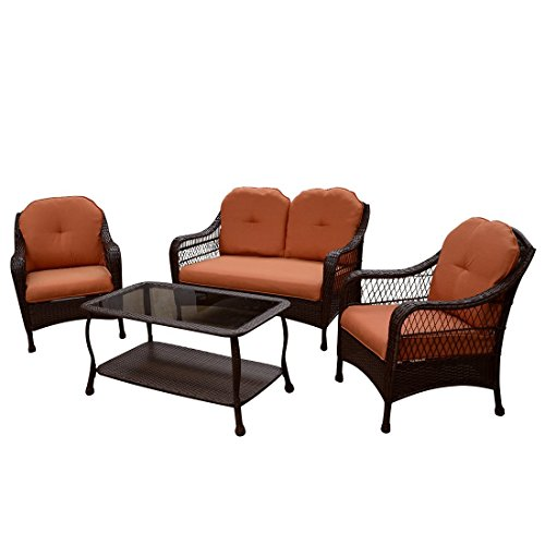 Patio furniture all weather wicker outdoor lawn garden azalea ridge better homes gardens 4 for Better homes and gardens patio furniture cushions