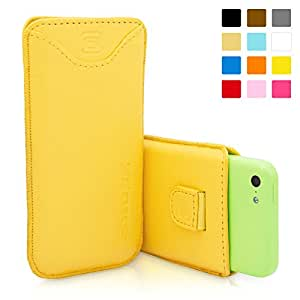 Snugg Leather Case Protective Pouch with Card Slot, Elastic Pull Strap and Premium Nubuck Fibre Interior for Apple iPhone 5C - Yellow