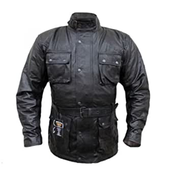 CLASSIC VINTAGE BIKERS Black Motorcycle Waxed Age Treated Leather Jacket (Small)