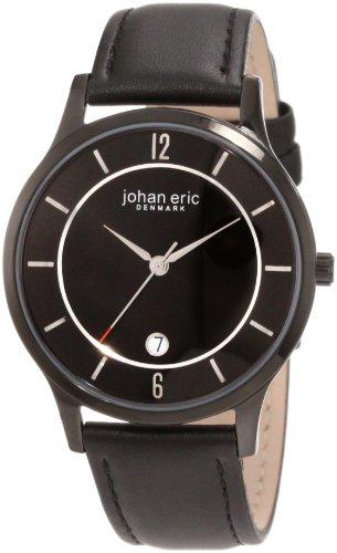 Johan Eric JE2003-13-007 - Reloj analógico de cuarzo para hombre con correa de piel, color negro
