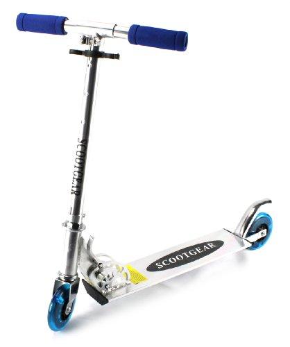 Scootgear Children'S Two Wheeled Metal Toy Kick Scooter W/ Adjustable Handlebar Height, Light Up Wheels (Blue)
