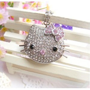 High Quality 32 GB Hello Kitty Shape Crystal Jewelry USB Flash Memory Drive Necklace (silver) by T &  J