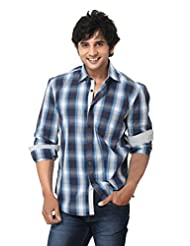 Mens Shirt - Casual Wear Shirt - Cotton Checks Shirt - Blue Color - By Zorro