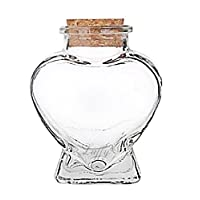 LUFFY Nano Marimo Jar - Clear Empty Heart shaped Glass Bottle with Cork Stopper - Perfect for Aromatherapy Oils, Party Favors, Spices, Bath Bubbles and DIY Projects