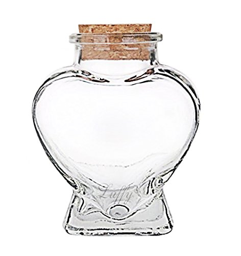 LUFFY Nano Marimo Jar - Clear Empty Heart shaped Glass Bottle with Cork Stopper - Perfect for Aromatherapy Oils, Party Favors, Spices, Bath Bubbles and DIY Projects (Cute Mason Jars compare prices)