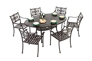 Metal Garden Furniture Set Oval 6 Seater Pretoria Set With Seat Cushions