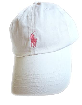 Ralph Lauren Baseball Cap White with Pink Pony Girls 4-6x
