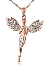 Kaizer 18K Rose Gold Plated Cubic Zircon Angel Pendant For Women/Girls (Valentine Especial)