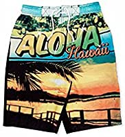 Contrast Drawstring Aloha Hawaii Swim Shorts