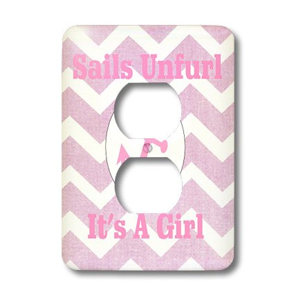 Lsp_181094_6 Florene - Special Events - Image Of Baby Girl Notice, Chevron Stripes With Anchor Sails Unfurled - Light Switch Covers - 2 Plug Outlet Cover