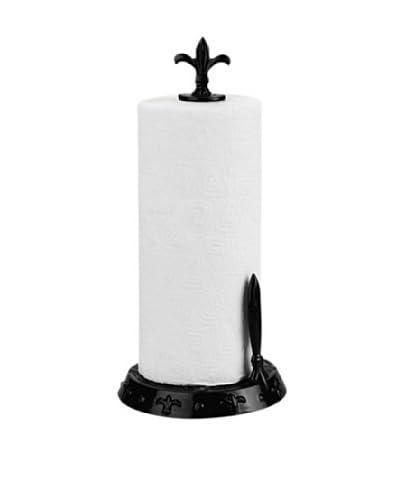 Old Dutch International Fleur De Lis Standing Towel Holder, Jet Black