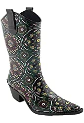 Corkys Women's Rodeo Tall Rain Boots Brown-Pink Floral