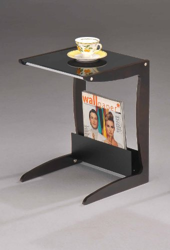 Image of Walnut / Black End Table With Magazine Rack (SR-0691)