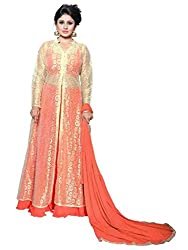 BanoRani Peach Color Faux Georgette UnStitched Lehanga Choli With Golden Net Jacket