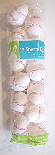 """12 Baseball Plastic Easter Eggs, 2 1/2"""" X 1 3/4"""""""