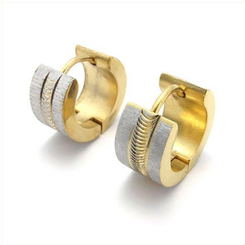 KONOV Jewelry Stainless Steel Men's Huggie Hinged Hoop Stud Earrings Set, 2pcs, Color Gold Silver