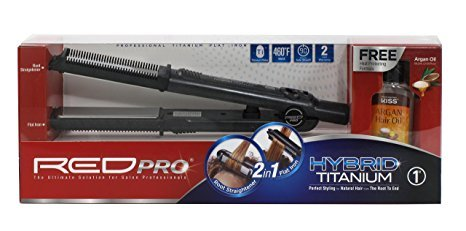 RED PRO HYBRID TITANIUM 2in1 Root Straightener Flat Iron 1