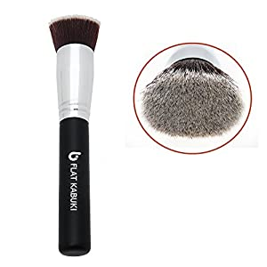 Foundation Brush Flat Top Kabuki: Blends Liquids, Creams + Powders for an Airbrushed Finish! 100% Money Back Guarantee; Synthetic Dense Bristles That Do Not Shed, Recommended by Top Makeup Artists Even for Beginners, Makes Great Stocking Stuffers!