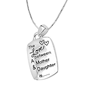 "Sterling Silver ""The Love Between A Mother And Daughter Is Complicated, Noisy, Tender, Strong, Affectionate, Funny and Forever"" Reversible Pendant Necklace, 18"""