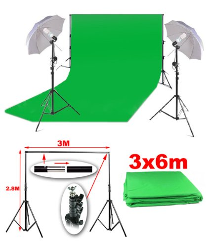 BPS Background Support & 3m x 6m Green Backdrop