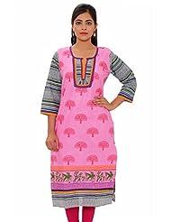 MSONS Womens Baby Pink Tree Katha Neck & Multi Printed Long Cotton Kurti