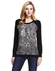 M&S Collection Abstract Print Jumper with Angora