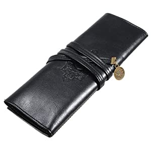 Vintage Style Rollup Pencil Case, Pencil Bag, Pen Pocket - PU Leather