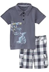 Kenneth Cole Baby Boys' Granite Polo Top With Plaid Short
