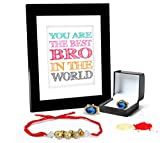 Tied Ribbons Rakhi Gifts For Brother Combo (Finest Rakhi with Cufflinks and Photo Frame 27cm x 22cm )