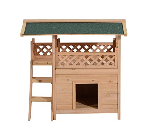 Pawhut 2-Story Indoor/Outdoor Wood Cat House Shelter with Roof ...