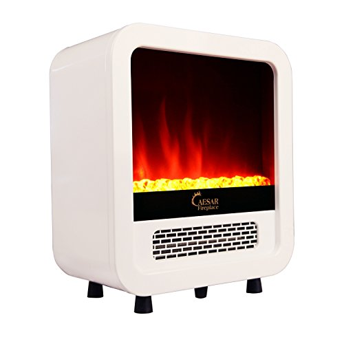 B00P94BA7Y Caesar Hardware Electric Fireplace Portable Mini Indoor Compact Freestanding Room Heater, White