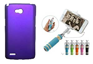 Toppings Hard Case Cover With Mini Selfie Stick For LG L80 - purple
