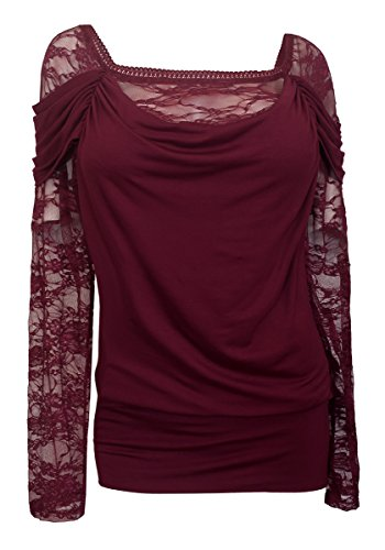 eVogues Plus size Floral Lace Sleeve Top Wine - 3X