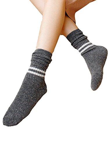 Zando lana morbida solido resistente Stile Vintage Fashion valore piatto maglia calzini Dark Grey Taglia unica