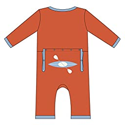 KicKee Pants Little Boys Applique Coverall- Frisbee Kayak, 0-3 Months