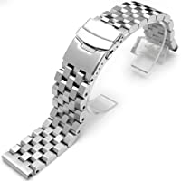 21mm SUPER Engineer Type II Solid Stainless Steel Straight End Watch Band-Push button