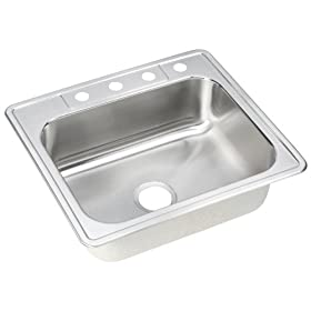 Elkay DSE125224 Dayton Elite 25-Inch by 22-Inch Stainless Steel Single Bowl Four-Hole Kitchen Sink, Satin Finish