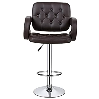 COSTWAY PU Leather Swivel Adjustable Bar Stools With Armrest Hydraulic Pub Chair, Set of 2 (Brown)