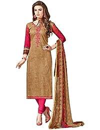 Digital Printed Cotton Slik Dress Material With Neck Thread Work - B06XVNV1KR
