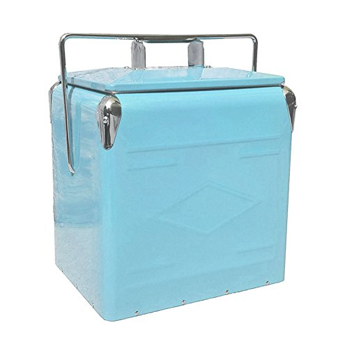 Retro Metal Picnic Cooler, Embossed Turquoise (Vintage Metal Cooler compare prices)