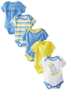 Nautica Baby-Boys Newborn Assorted Print Bodysuits 5 Pack, Multi, 0-3 Months