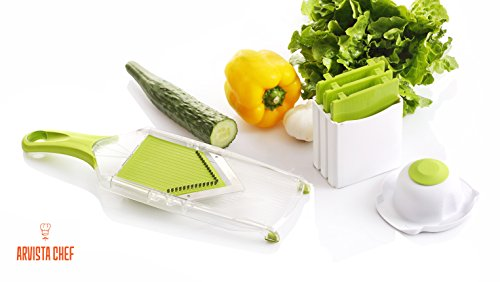 Premium Mandoline Slicer - Vegetable Slicer - Vegetable Chopper - Vegetable Cutter - French Fry Cutter - Tomato Slicer - Potato Slicer - Julienne Carrots (Mandolin French Fries compare prices)
