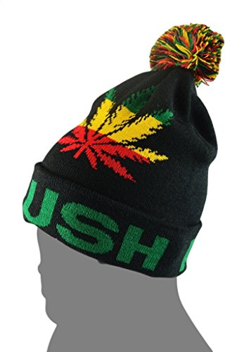 Mens-Winter-Marijuana-Leaf-Pome-Thick-Long-Beanie-Skull-Hat-One-size-4Colors