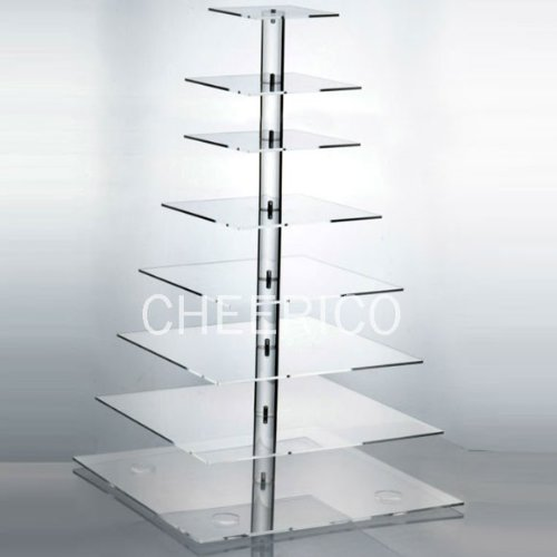 8 Tier Large Square Pole Wedding Acrylic Cupcake Stand Tree Tower Cup Cake Display (Bubble Wrap 100 Square Feet compare prices)
