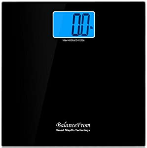 """BalanceFrom High Accuracy Digital Bathroom Scale with 4.3"""" Extra Large Cool Blue Backlight Display and """"Smart Step-On"""" Technology [NEWEST VERSION] (Black)"""