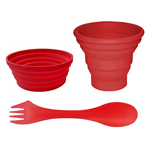 Ecoart Silicone Collapsible Bowl Cup Set with Spork for Outdoor Camping Hiking Travel, Red - Set of 3 (Camping Cookware 2 Person compare prices)