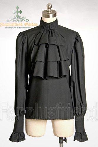 Camicia nera a jabot Vittoriano pirata versione donna