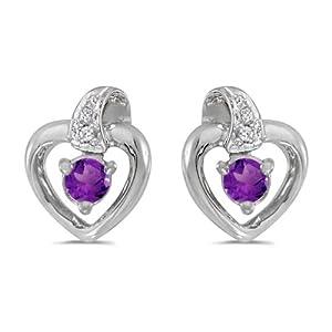 10k White Gold Round Amethyst And Diamond Heart Earrings
