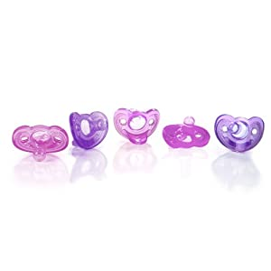 The First Years Gumdrop Newborn Pacifiers, Pink/Purple, 5-Count